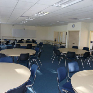 Conference facility setup with tables